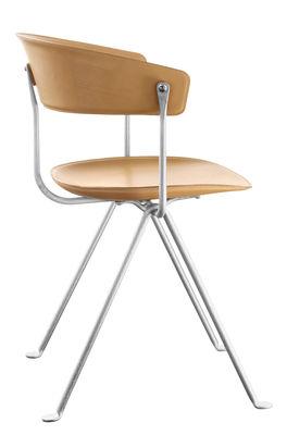 Mobilier - Chaises, fauteuils de salle à manger - Fauteuil Officina / Cuir - Magis - Cuir naturel / Structure galvanisée - Cuir, Fer forgé, Polypropylène