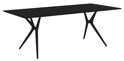 Furniture - Teen furniture - Spoon Foldable table - 140 x 70 cm by Kartell - Black / Black feet - Laminated finish aluminium, Technopolymer