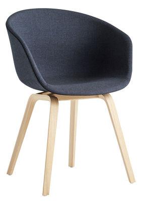 About a chair AAC23 Gepolsterter Sessel / Ganz mit Stoff & matt lackierter Eiche - Hay - Dunkelgrau,Chêne verni mat