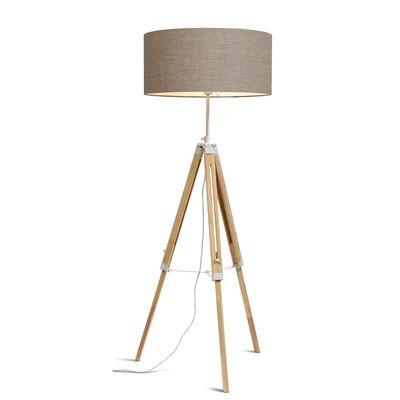 Illuminazione - Lampade da terra - Lampada a stelo Darwin - / Tessuto & legno - Altezza regolabile 143 a 173 cm di It's about Romi - Lino - Cotone, Legno, metallo laccato