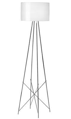 Illuminazione - Lampade da terra - Lampada a stelo Ray F2 di Flos - Metallo bianco - Acciaio cromato, Alluminio laccato