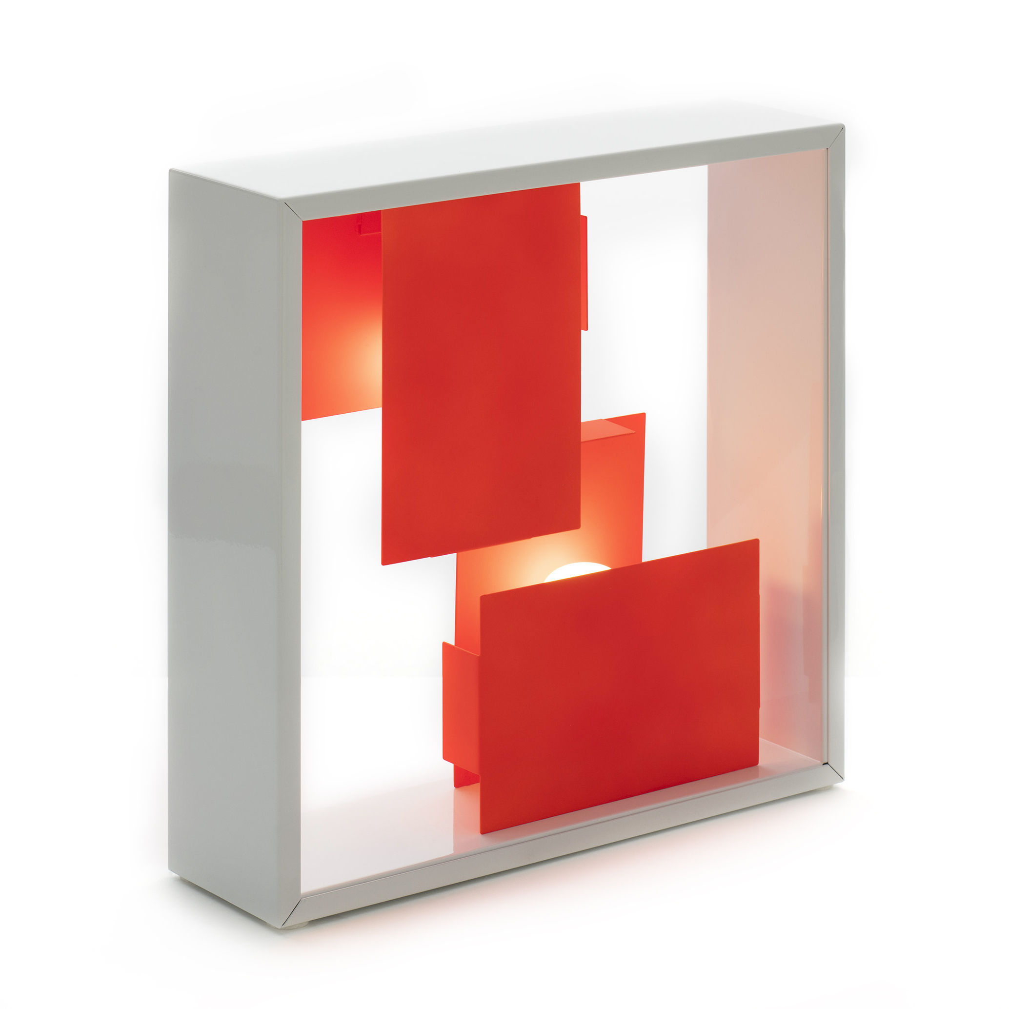 Illuminazione - Lampade da tavolo - Lampada da tavolo Fato Bicolor - / Applique - Riedizione 1969 di Artemide - Corallo / Bianco - Acciaio