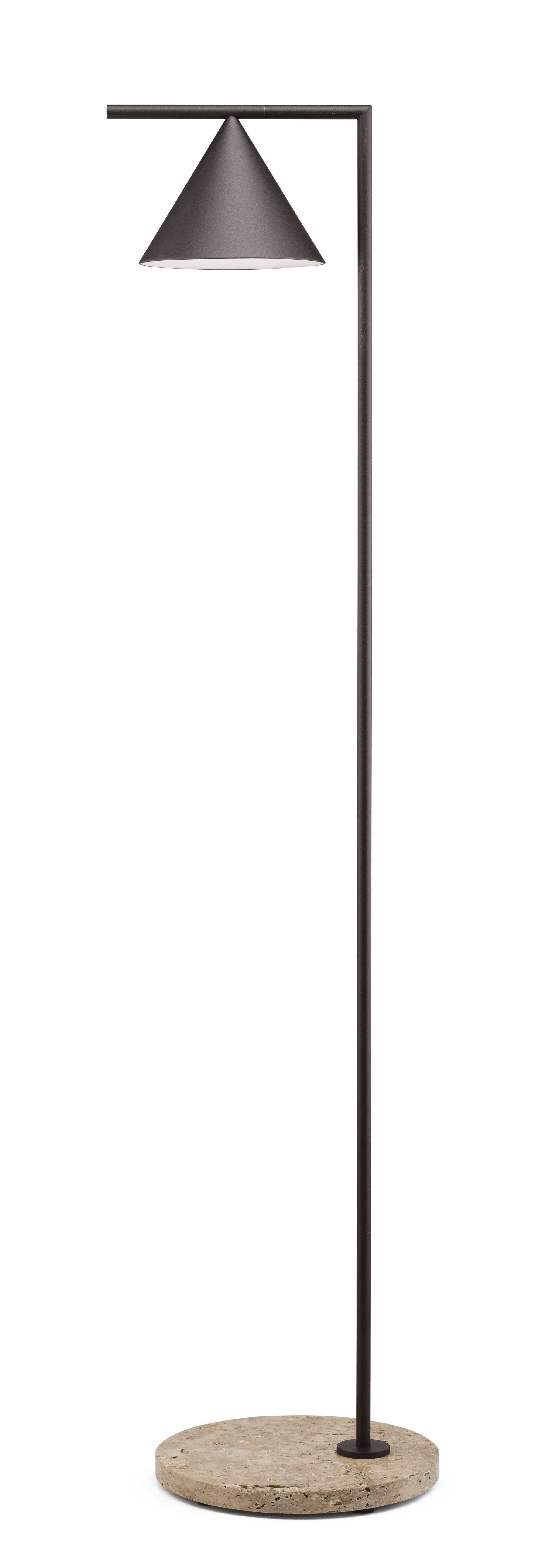 Luminaire - Lampadaires - Lampadaire Captain Flint Outdoor LED / H 154 cm - Orientable - Base pierre - Flos - Marron foncé / Base pierre beige - Acier inoxydable, Pierre, Polycarbonate