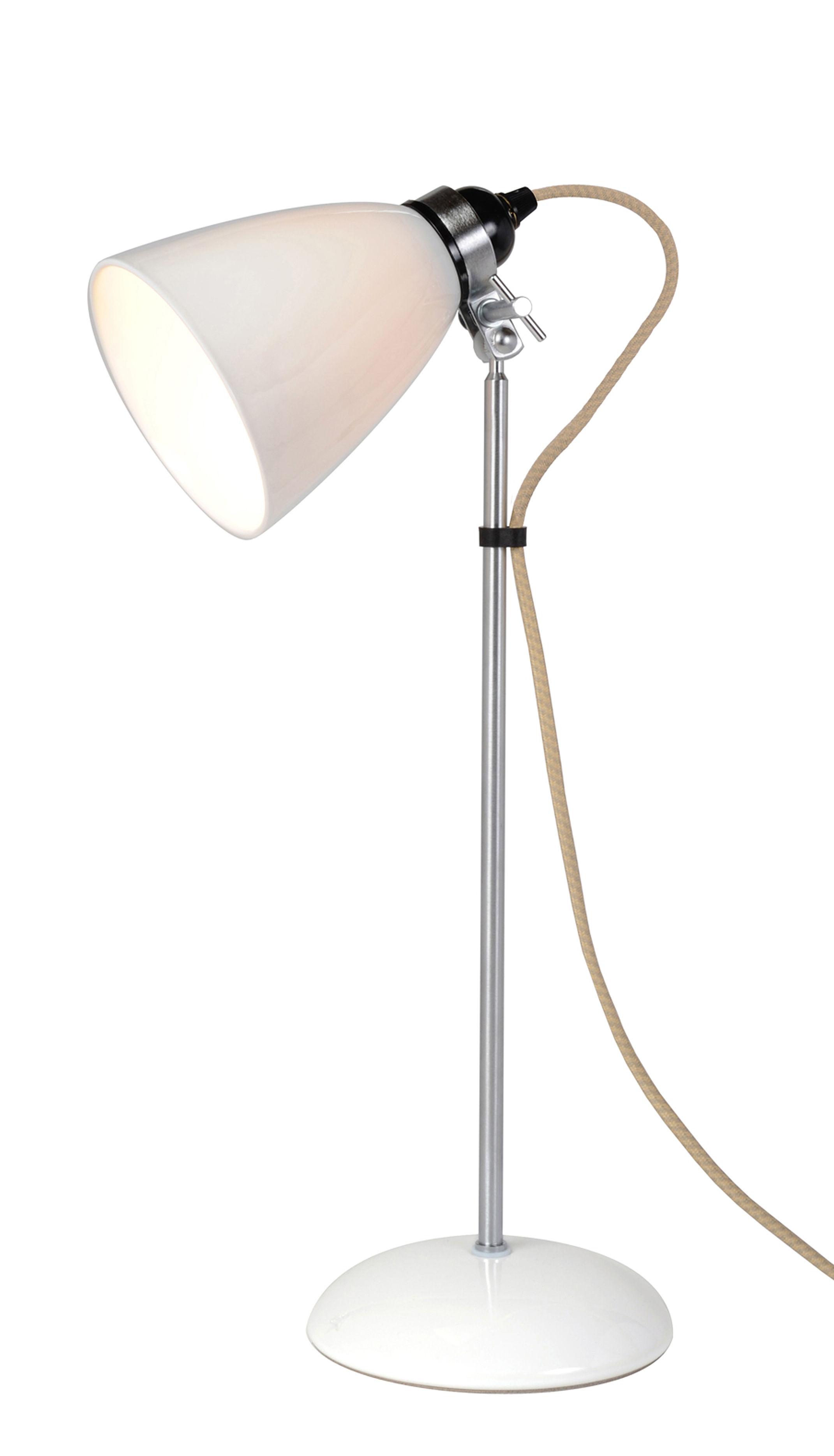 Luminaire - Lampes de table - Lampe de table Hector Dome / Medium - H 57 cm - Porcelaine lisse - Original BTC - H 57 cm (Madium) / Blanc - Métal chromé, Porcelaine