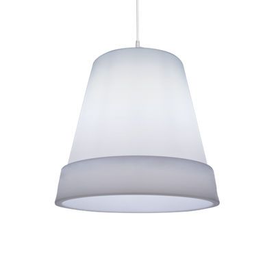 Lighting - Pendant Lighting - Pot Small Pendant - Ø 35 cm by Stamp Edition - Small / Translucent white - Metal, Polypropylene