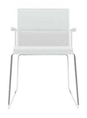 Arredamento - Sedie  - Poltrona imbottita Stick Chair - sedia a base fissa con braccioli - Seduta in cuoio di ICF - Cuoio bianco - Base cromata - Struttura e braccioli in colore bianco - Acciaio, Alluminio, Pelle, Termoplastica
