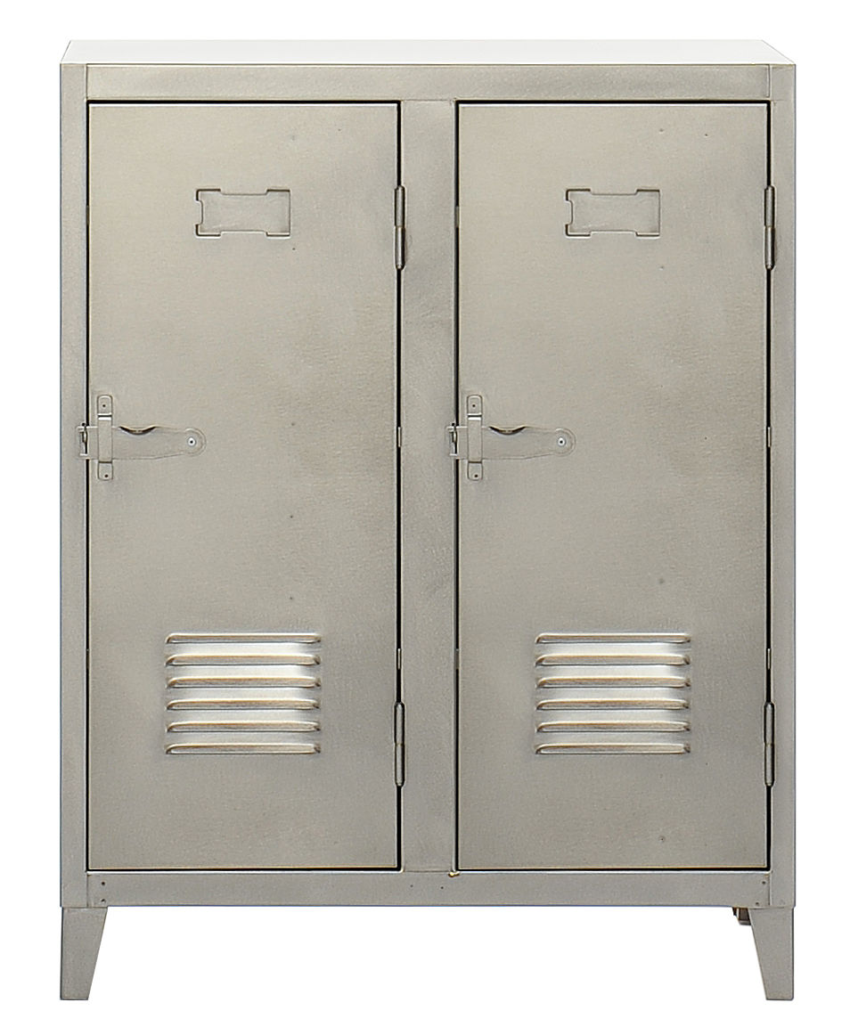 Arredamento - Raccoglitori - Portaoggetti Vestiaire bas - Guardaroba basso 2 porte di Tolix - Acciaio satinato - Acciaio grezzo verniciato opaco
