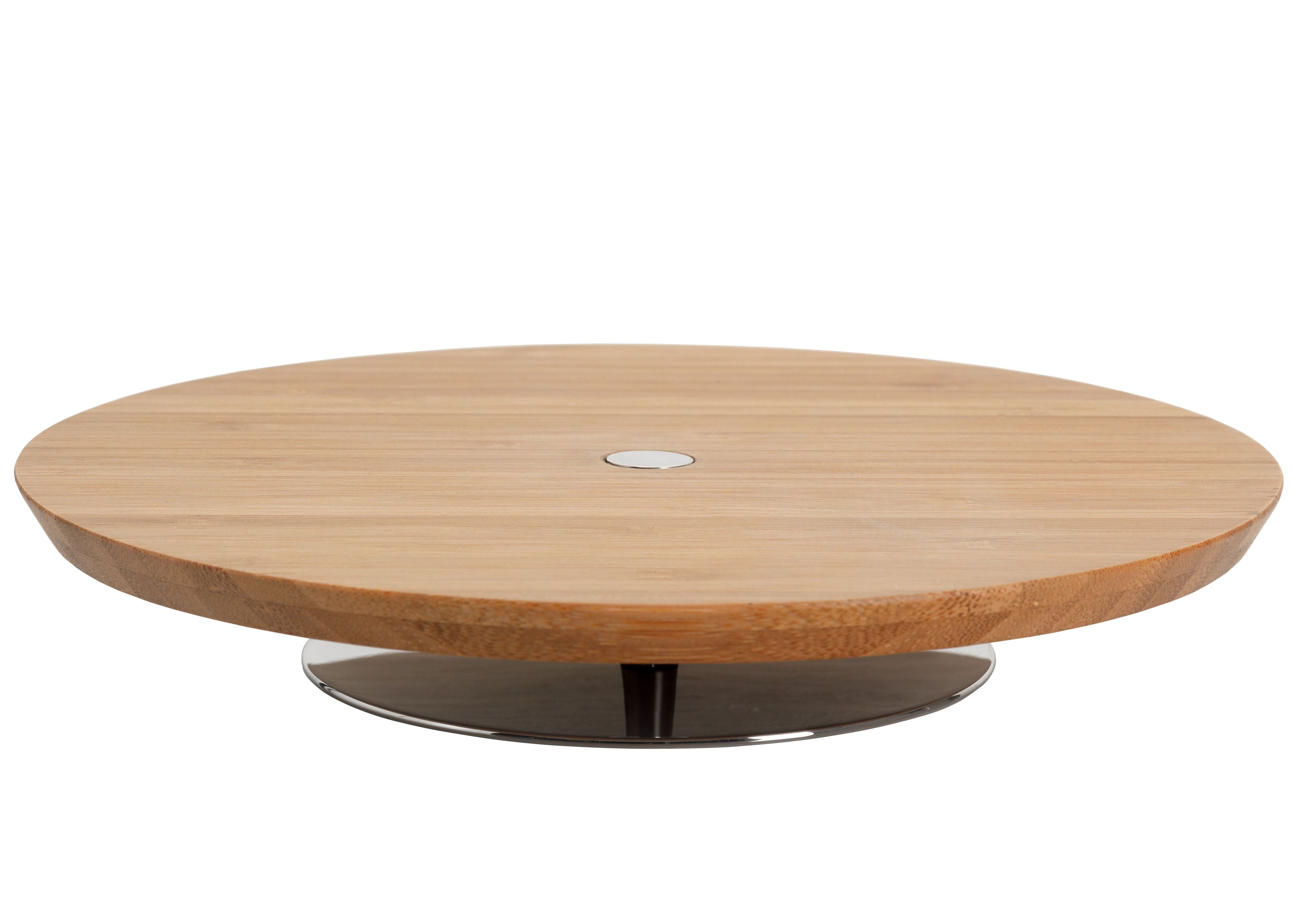Tableware - Serving Plates - Ape Presentation tray - Ø 20 cm by Alessi - Natural wood & polished stainless steel - Stainless steel, Wood