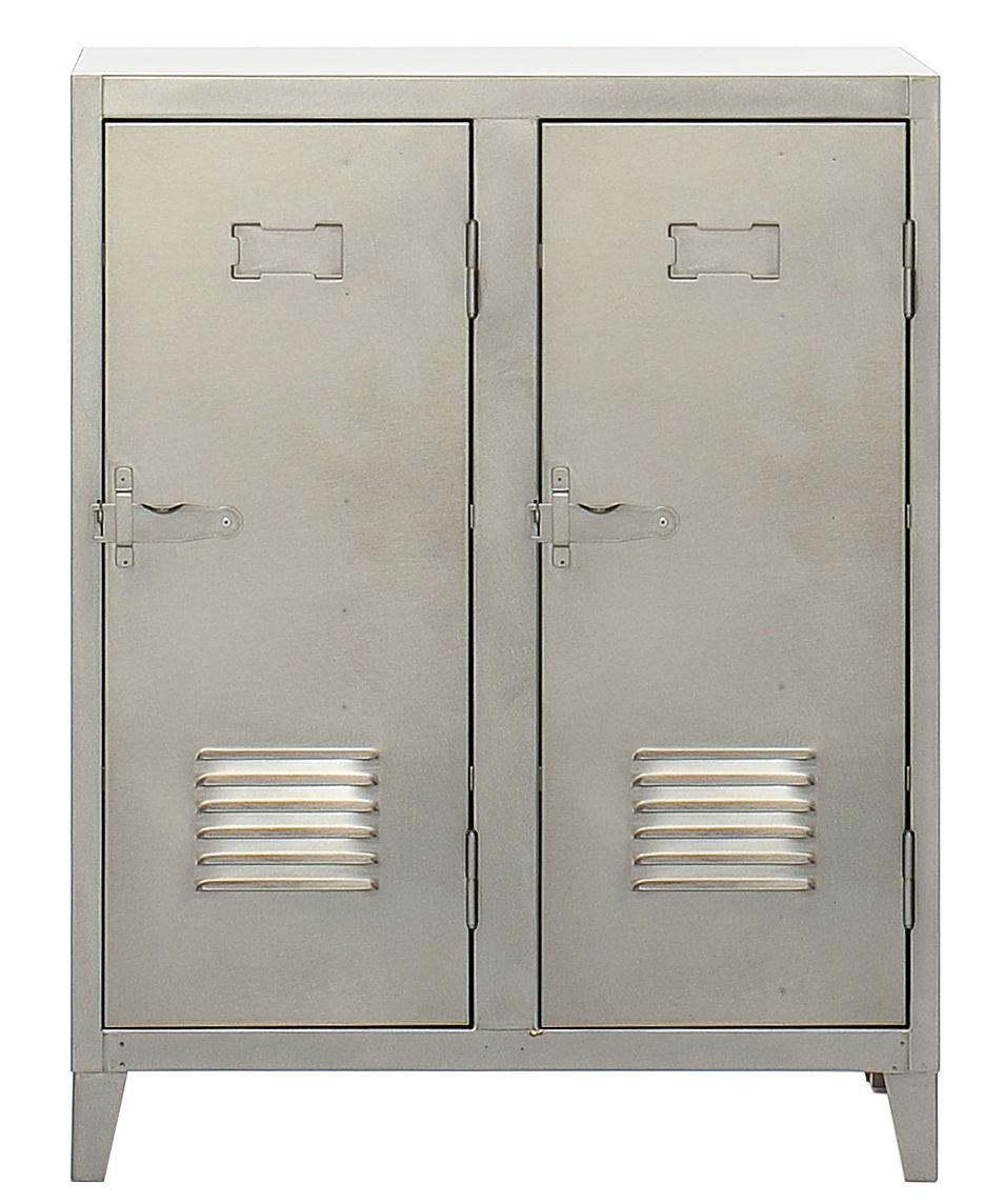 Mobilier - Meubles de rangement - Rangement Vestiaire bas / Acier - 2 portes - Tolix - Acier brut verni satiné - Acier brut verni mat