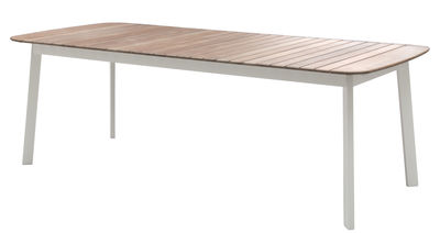 Outdoor - Tische - Shine rechteckiger Tisch / 225 x 100 cm - Emu - Weiß / Tischplatte Teak - klarlackbeschichtetes Aluminium, Teakholz