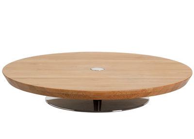 Tischkultur - Platten - Ape Servierplatte Ø 20 cm - Wurst- und Käseplatte - Alessi - Ø 20 x H 3,5 cm - Holz natur / Edelstahl glänzend - Holz, rostfreier Stahl