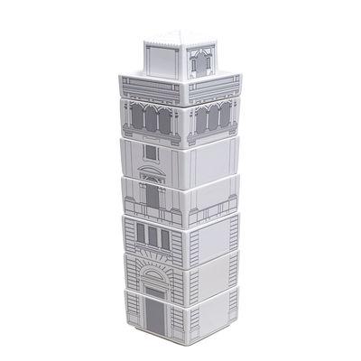 Set vaisselle Palace - Torrione / 7 bols + 1 ramequin empilables - Seletti blanc/noir en céramique
