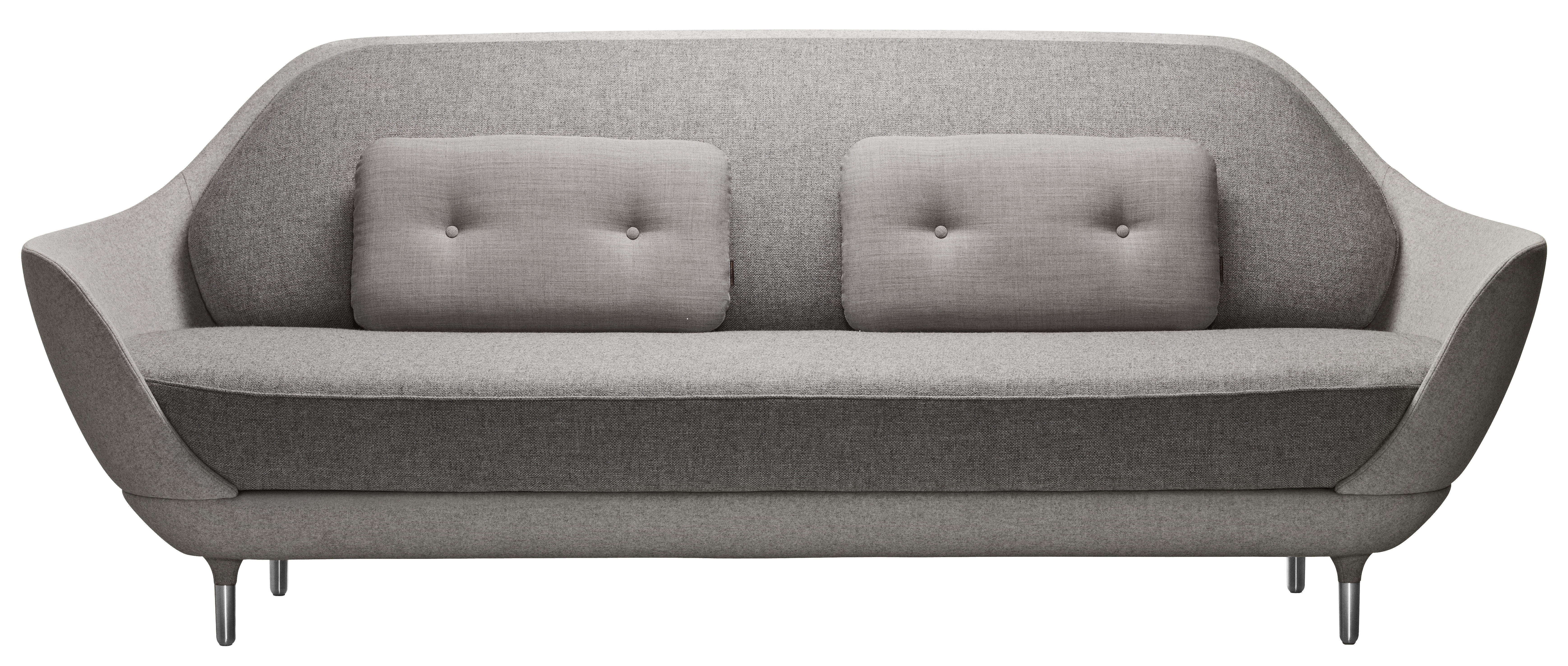 Möbel - Sofas - Favn Sofa L 221 cm - Fritz Hansen - Hellgrau - Glasfaser, Kvadrat-Gewebe, Polyurethan-Schaum, Stahl