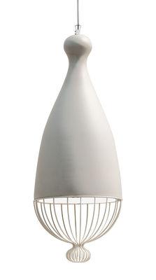 Illuminazione - Lampadari - Sospensione Le Trulle - / Ceramica - Ø 26 x H 71 cm di Karman - Bianco - Acciaio inossidabile, Ceramica