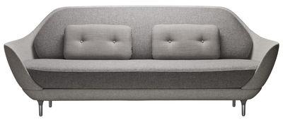 Furniture - Sofas - Favn Straight sofa - L 221 cm by Fritz Hansen - Light grey - Fibreglass, Kvadrat fabric, Polyurethane foam, Steel