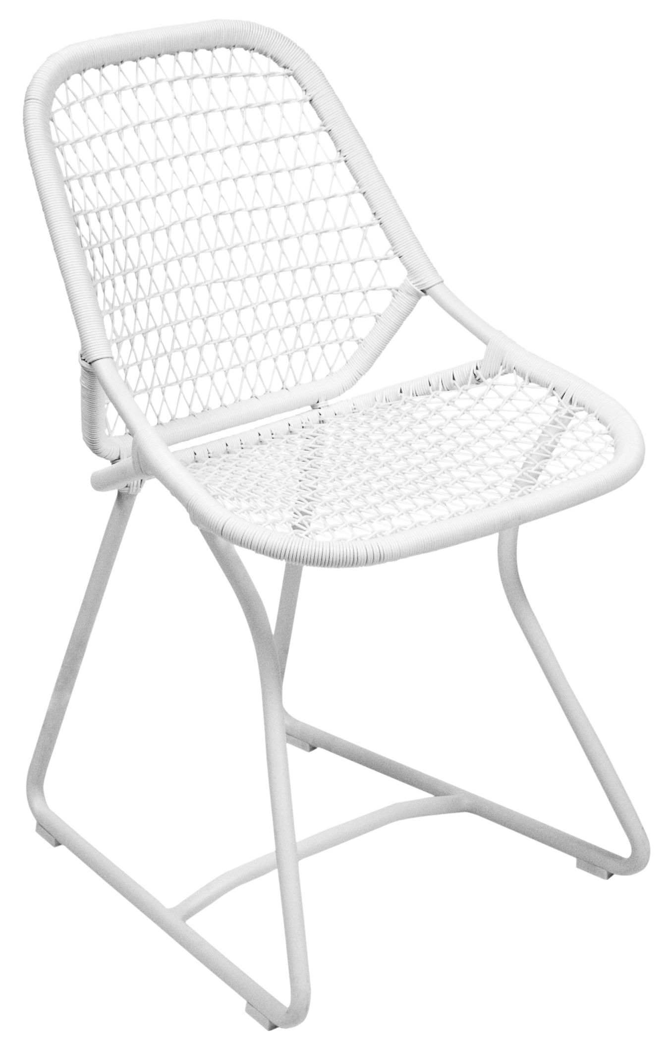 Möbel - Stühle  - Sixties Stuhl - Fermob - Baumwollweiß / Weiß - Aluminium, Résine polymère