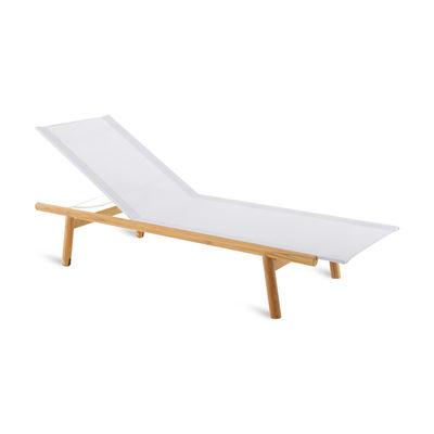 Outdoor - Sun Loungers & Hammocks - Pevero Sun lounger - / Multi-position - Teak and fabric by Unopiu - Teak & white - Teak, Textilene fabric