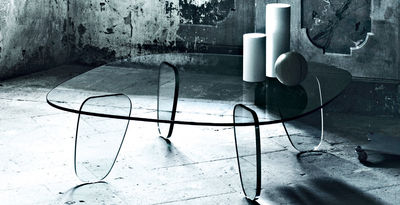 Mobilier - Tables basses - Table basse Drawn 90 x 90 cm - Glas Italia - 90 x 90 cm - Transparent - Verre