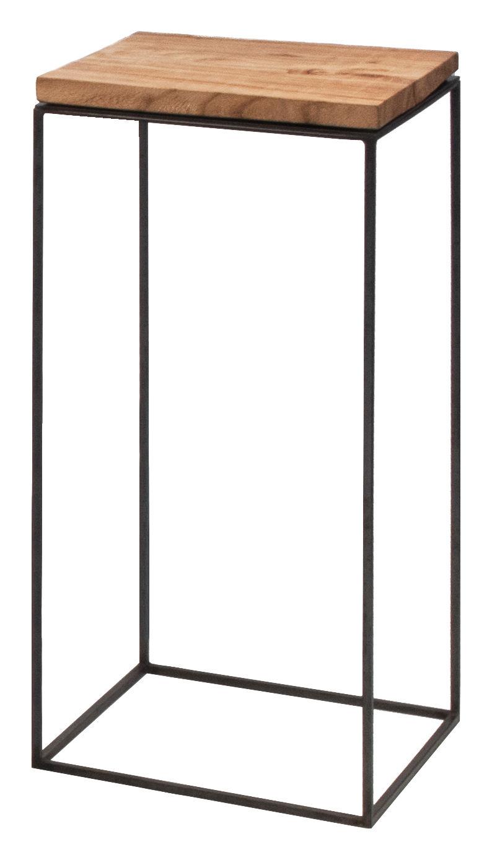 Mobilier - Tables basses - Table basse Slim Irony / 31 x 31 x H 64 cm - Zeus - Bois / Pied noir cuivré - Acier