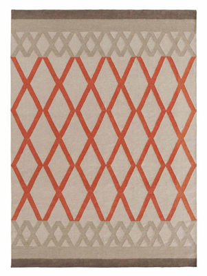 Tapis Sioux Kilim / 170 x 240 cm - Reversible - Gan blanc/orange en tissu
