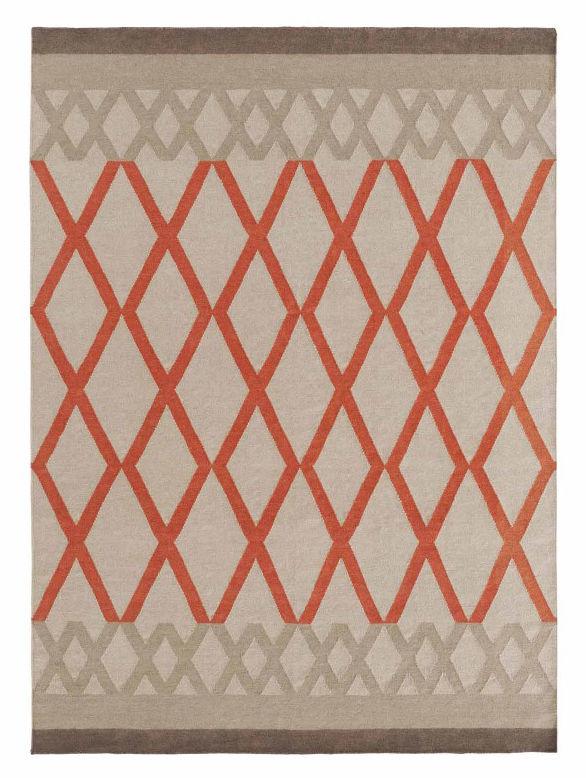 Déco - Tapis - Tapis Sioux Kilim / 170 x 240 cm - Reversible - Gan - Blanc / Motifs orange - Laine