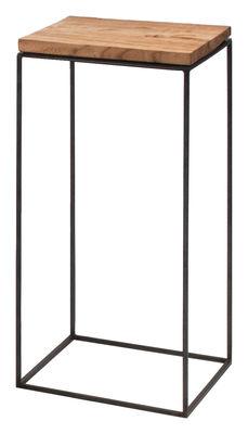 Arredamento - Tavolini  - Tavolino Slim Irony - / 31 x 31 x H 64 cm di Zeus - Top legno / Base nera ramata - Acciaio