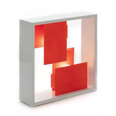 Leuchten - Tischleuchten - Fato Bicolor Tischleuchte / Wandleuchte - Neuausgabe 1969 - Artemide - Korallenrot / Weiß - Stahl