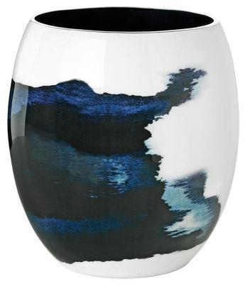 Dekoration - Vasen - Stockholm Aquatic Vase / Ø 16 cm x H 22 cm - Stelton - H 22 cm / weiß & blau - Aluminium, emaillierte Keramik