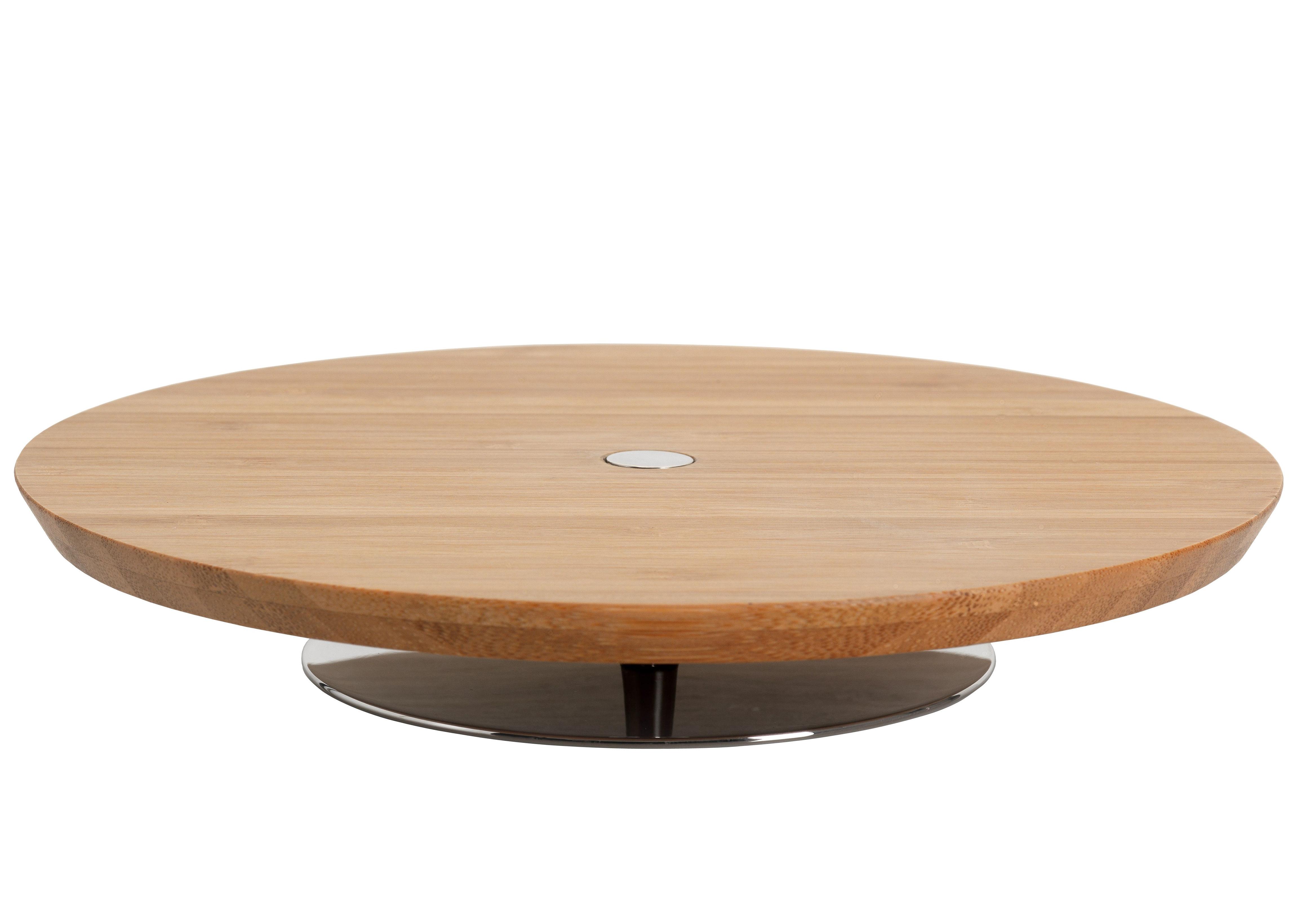 Tavola - Piatti da portata - Vassoio per presentazione Ape - Ø 20 cm - Per salumi e formaggi di Alessi - Ø 20 cm x H 3,5 cm - Bois naturale & inox brillante - Acciaio inossidabile, Legno