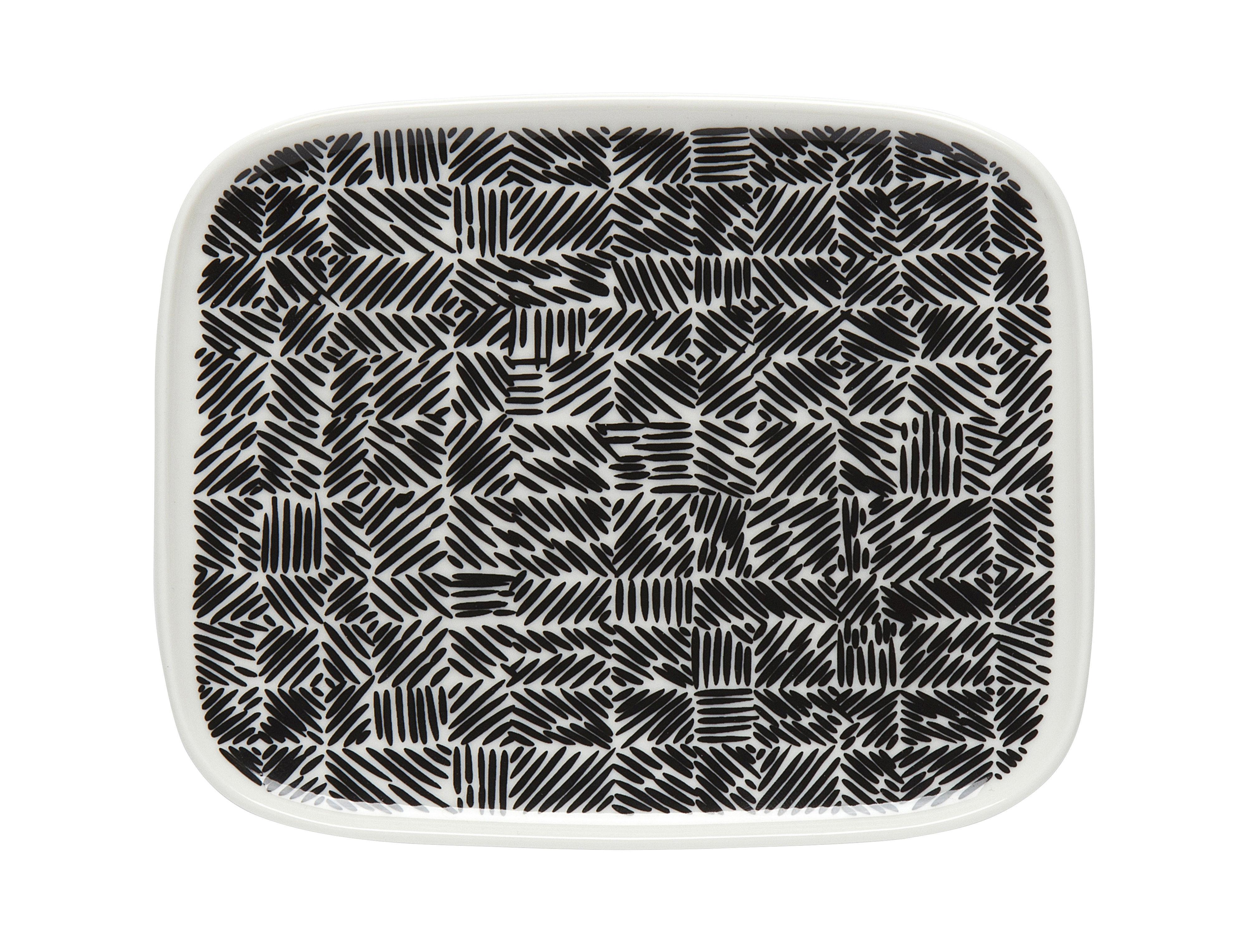 Arts de la table - Assiettes - Assiette à dessert Juustomuotti / 12 x 15 cm - Marimekko - Juustomuotti / Noir & blanc - Grès
