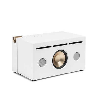 Trends - Stay home - PR 01 Bluetooth speaker - / With Active Pressure Reflex technology by La Boîte Concept - White - Aluminium, Fabric, Wood