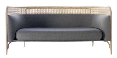 Mobilier - Canapés - Canapé 2 places Targa / L 160 cm - Cannage & tissu - Wiener GTV Design - Tissu gris / Bois naturel - Hêtre massif cintré, Mousse polyuréthane, Paille, Tissu Kvadrat