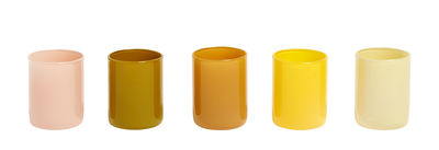 Decoration - Candles & Candle Holders - Spot Candle holder - / Set 5 - Glass by Hay - Yellow - Glass