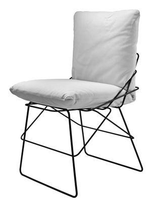 Mobilier - Chaises, fauteuils de salle à manger - Chaise rembourrée Sof-Sof / Réédition 1972 - Driade - Cuir blanc - Acier peint, Cuir, Mousse polyuréthane