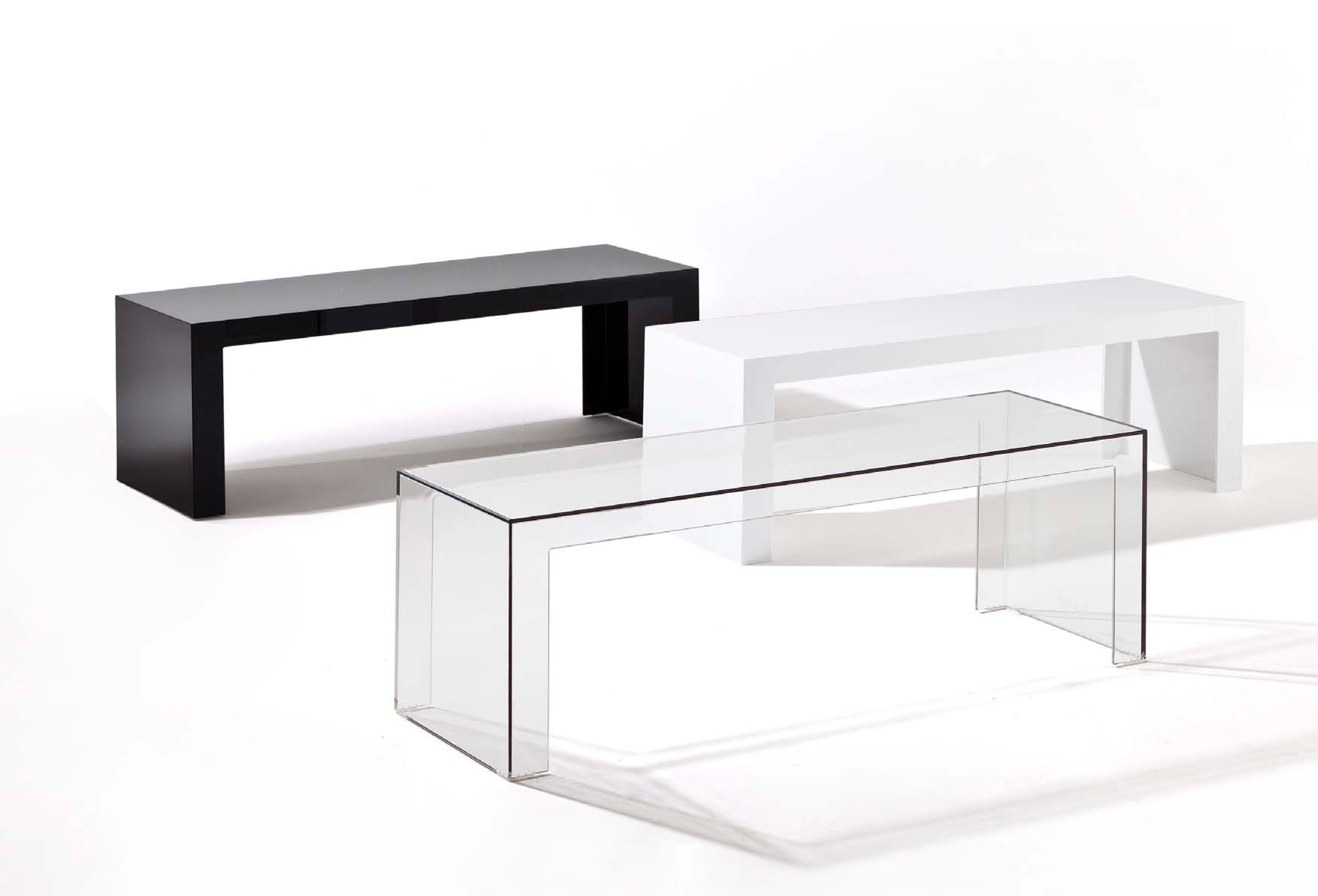 Console basse invisibles side kartell cristal l 120 x h 40