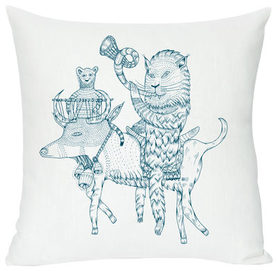 Déco - Pour les enfants - Coussin Hornylon / 40 x 40 cm - Domestic - Hornylon / Turquoise - Coton, Lin