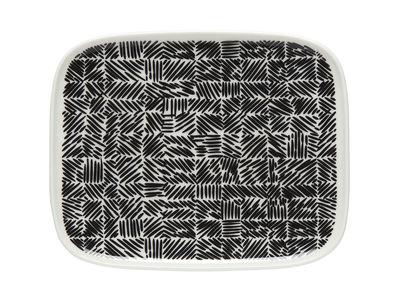 Tableware - Plates - Juustomuotti Dessert plate - / 12 x 15 cm by Marimekko - Juustomuotti / Black & white - Sandstone