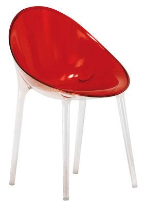 Mobilier - Chaises, fauteuils de salle à manger - Fauteuil Mr. Impossible / Polycarbonate - Kartell - Rouge transparent - Polycarbonate