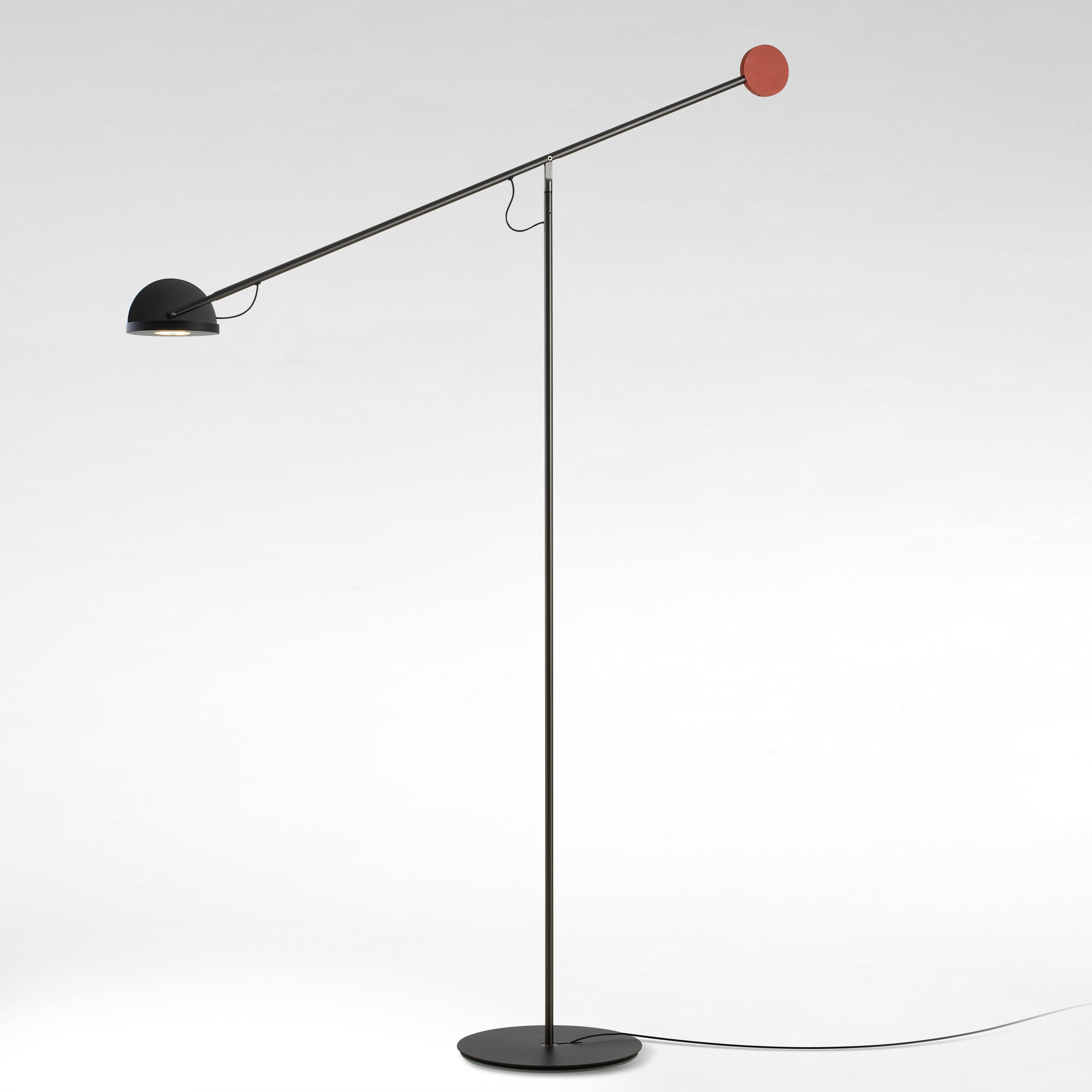 Lighting - Floor lamps - Copérnica Floor lamp - / H 130 cm by Marset - Graphite / Black & red - Aluminium, Nickel, Steel