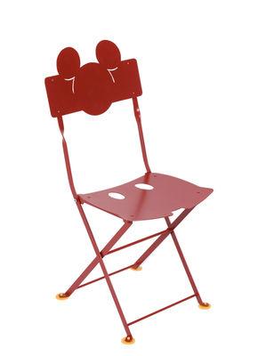 Furniture - Kids Furniture - Bistro enfant Mickey Folding chair - / Metal by Fermob - Poppy red - Acier cataphorèsé
