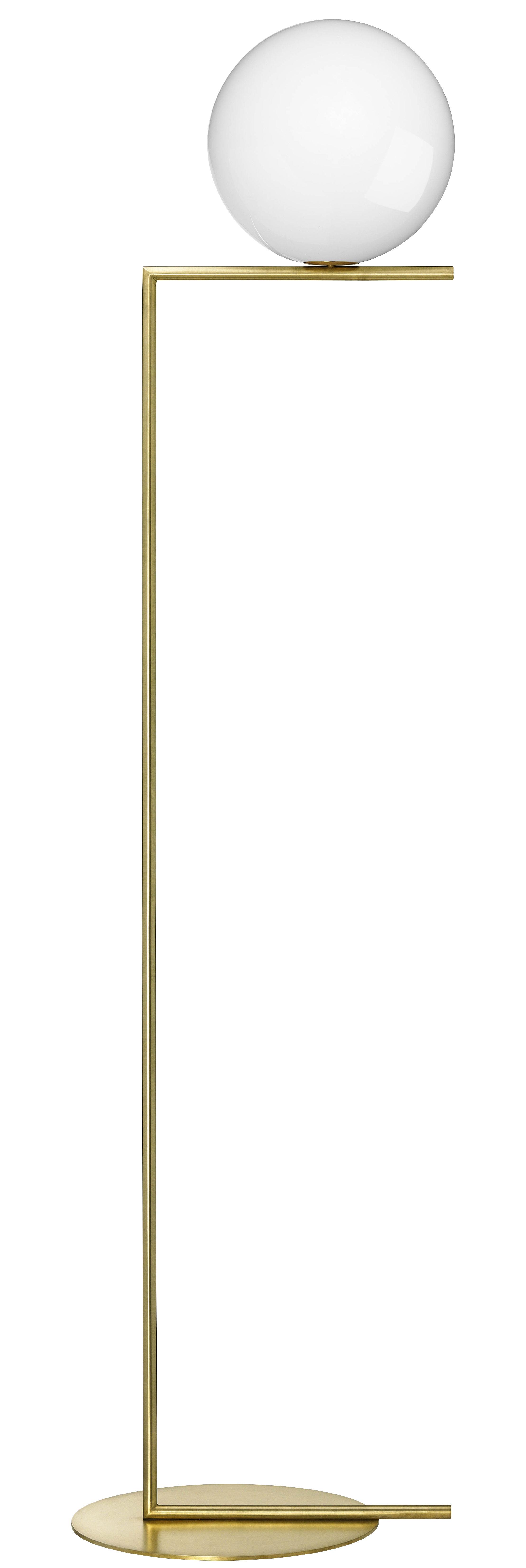 Illuminazione - Lampade da terra - Lampada a stelo IC F2 - / H 185,2 cm di Flos - Ottone - Acciaio, vetro soffiato
