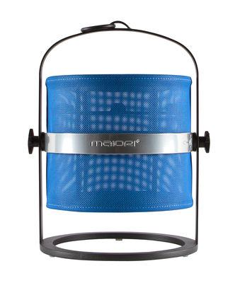 Lampe solaire La Lampe Petite LED / Hybride & connectée - Structure charbon - Maiori charbon,bleu royal en métal