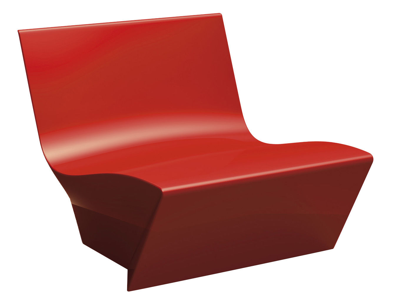Furniture - Armchairs - Kami Ichi Low armchair - Lacquered version by Slide - Lacquered red -