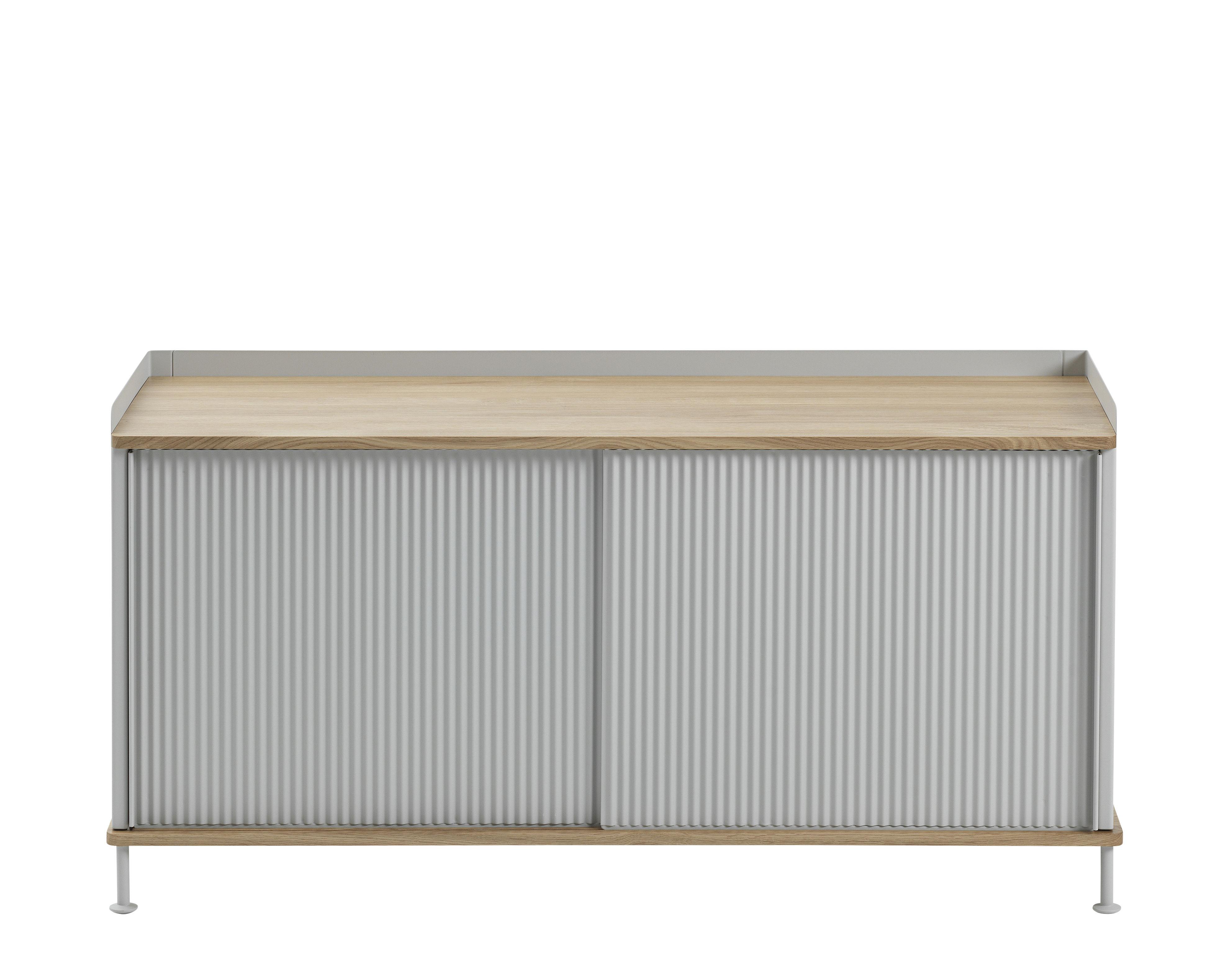 Möbel - Kommode und Anrichte - Enfold Lowboard / Stahl & Eiche natur - Muuto - Eiche / grau - lackierter Stahl, massive Eiche