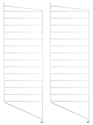 Mobilier - Etagères & bibliothèques - Montant de sol String® system / H 85 x P 30 cm - Set de 2 - String Furniture - Blanc - Acier laqué