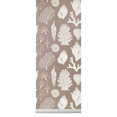 Déco - Stickers, papiers peints & posters - Papier peint Shells / 1 rouleau - Larg. 53 cm - Ferm Living - Vieux rose / Blanc - Toile intissée
