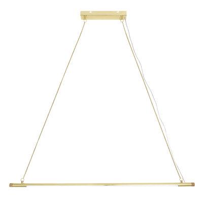 Gold LED Pendelleuchte / Metall & Eiche - L 124 cm - Bloomingville - Gold,Naturesche