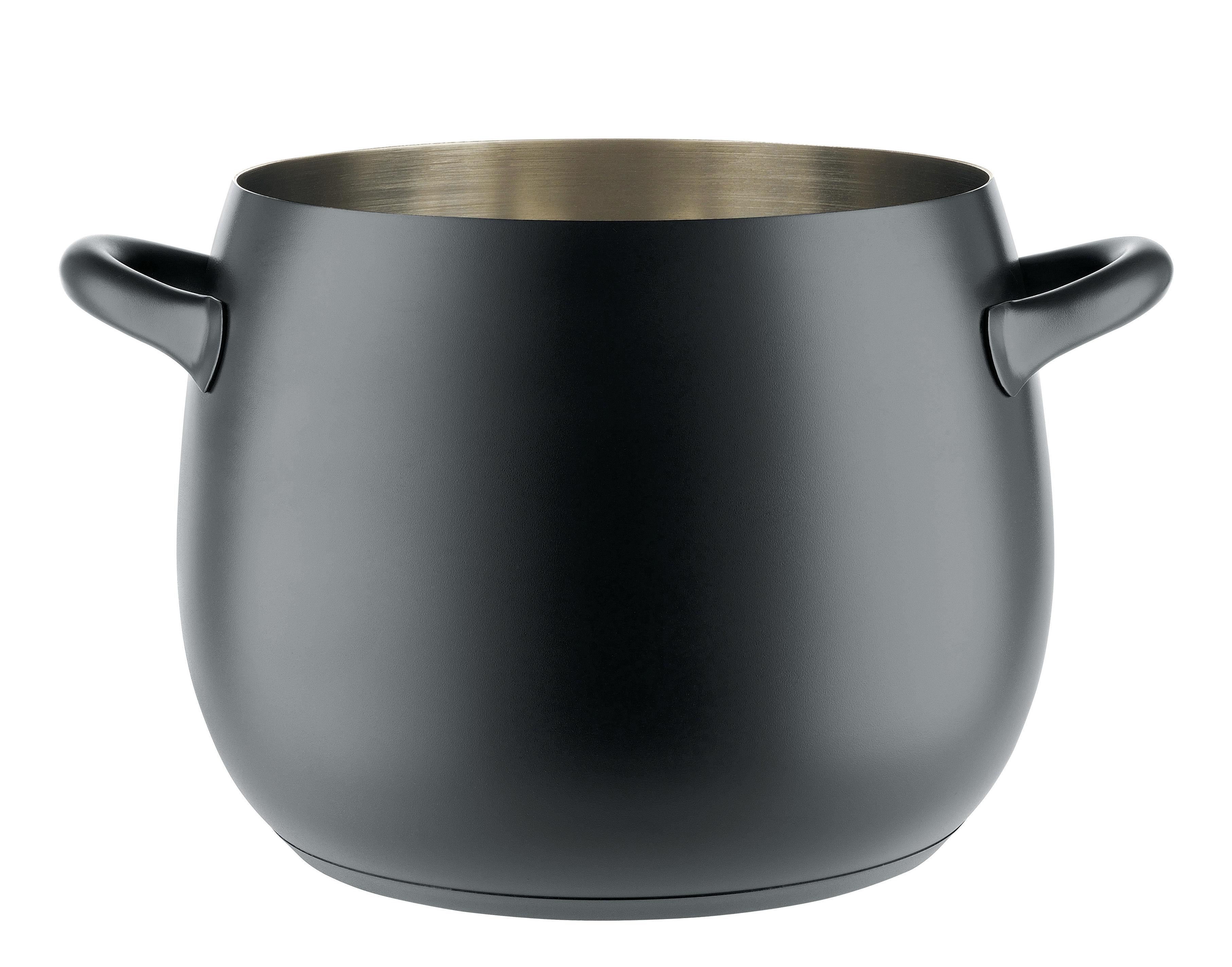 Cucina - Pentole, Padelle e Casseruole - Pentola Mami 3.0 / 10 Litri - Ø 27 cm - Alessi - Nero - Acciaio inossidabile, Acier magnétique, Résine silicone