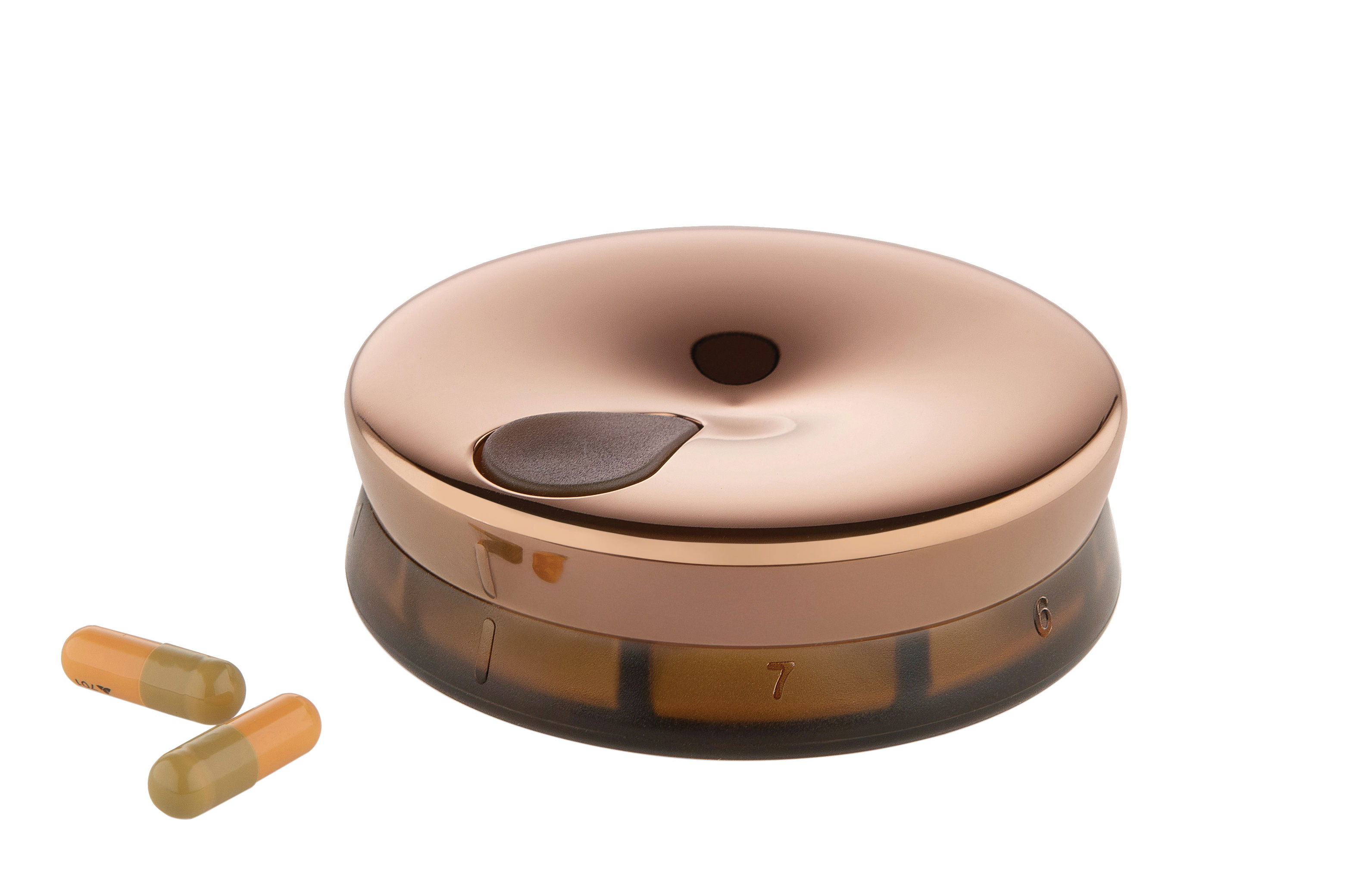 Accessories - Bags, Purses & Luggage - Yoyo Pill dispenser by Alessi - Steel / Brown - Stainless steel 18/10, Thermoplastic resin