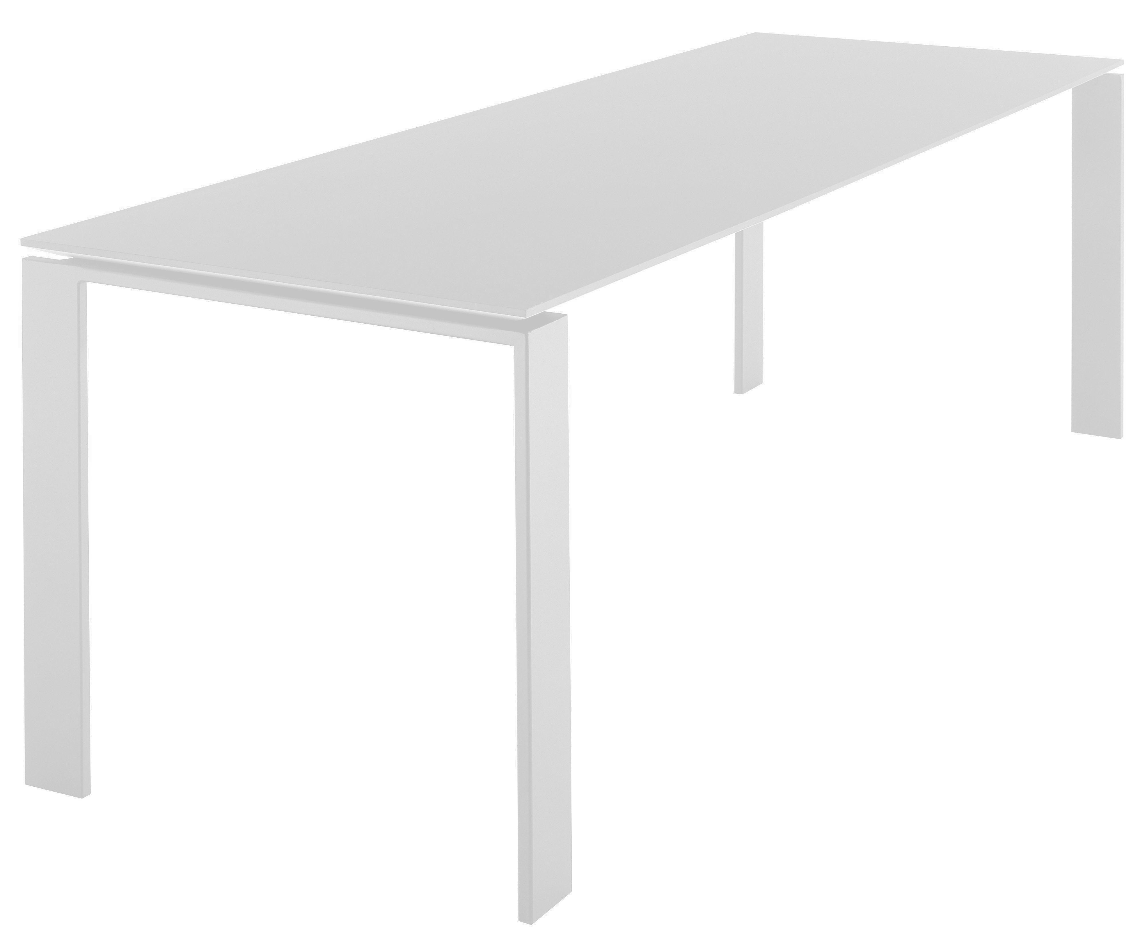 Möbel - Tische - Four rechteckiger Tisch - Kartell - Weiß 223 cm - gefirnister Stahl, Laminat